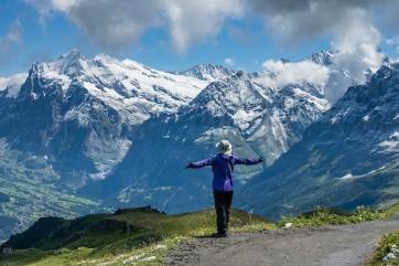Hiking from Männlichen  to Kleine Scheidegg pass, Switzerland, the Alps, Europe.